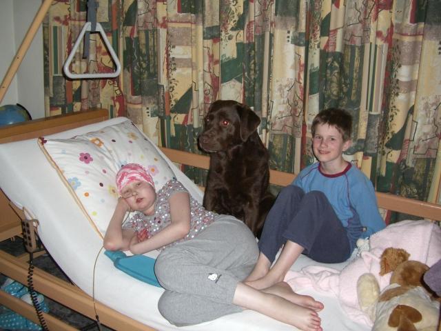 Eva thuis op haar bed  bij ons in de woonkamer, ook Bop en Sven zijn van de partij