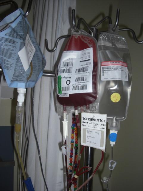 Bloed toegediend krijgen uit een zak direkt naast je bed blijft bgewoon een eng idee, helaas voor Eva was dit vandaag alweer nodig om op de been te blijven